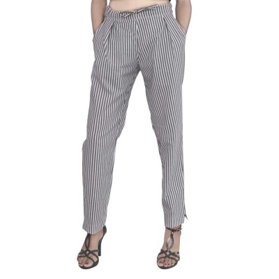 ASMANII GREY WHITE STRIPED PANT FOR WOMEN JAIPUR