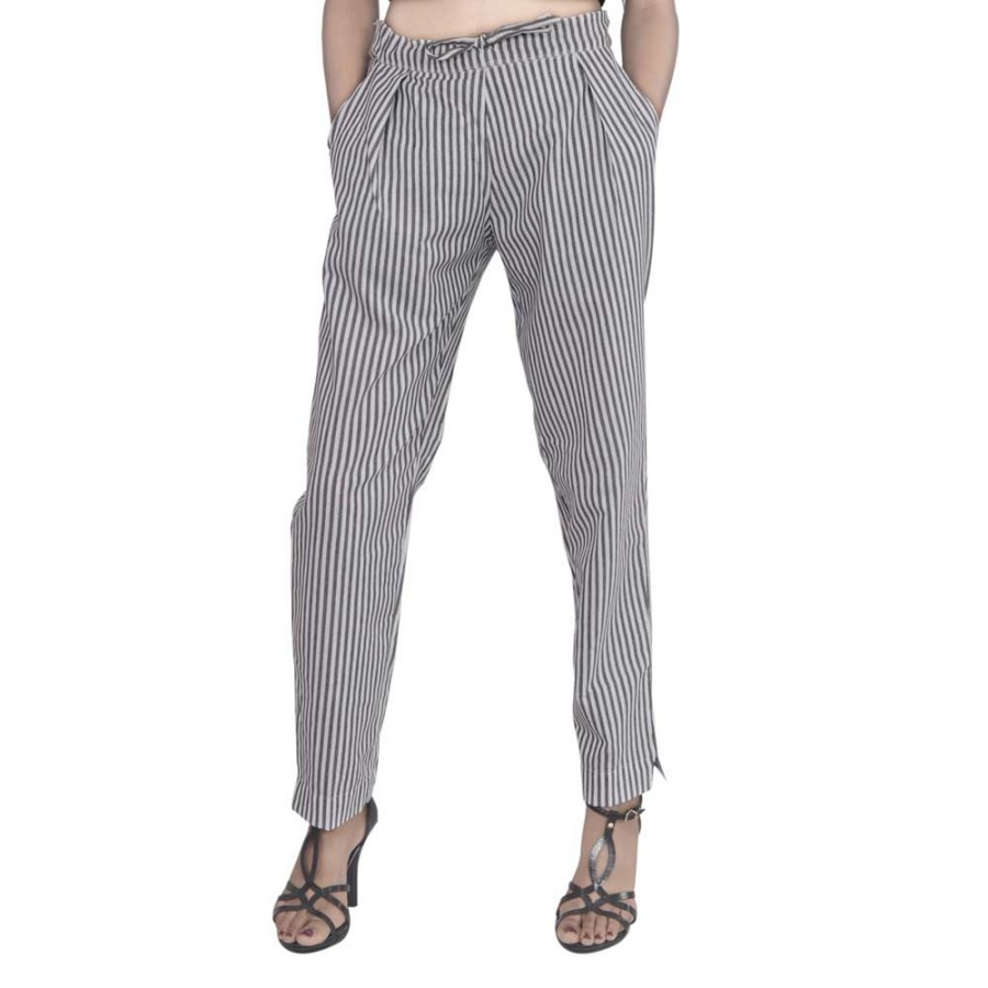 GREY WHITE STRIPED PANT