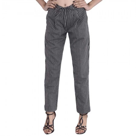 ASMANII BLACK STRIPED PANT JAIPUR