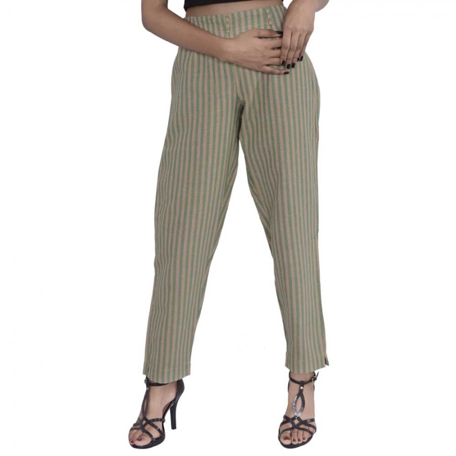 ASMANII GREEN YELLOW STRIPED PANTS JAIPUR