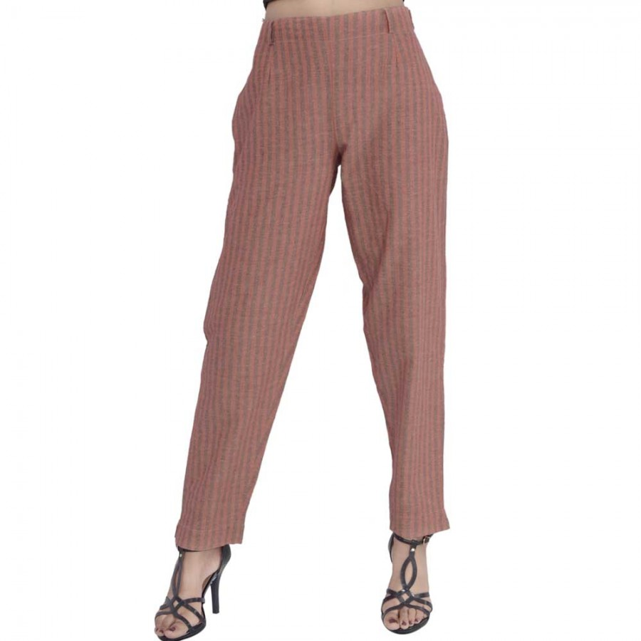 ASMANII DARK BROWN STRIPED PANT FOR WOMEN JAIPUR