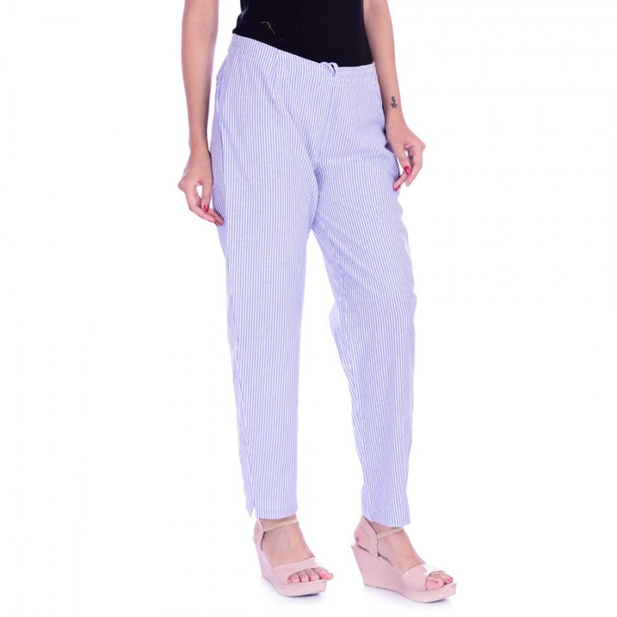 ASMANII BLUE WHITE STRIPED PANTS JAIPUR