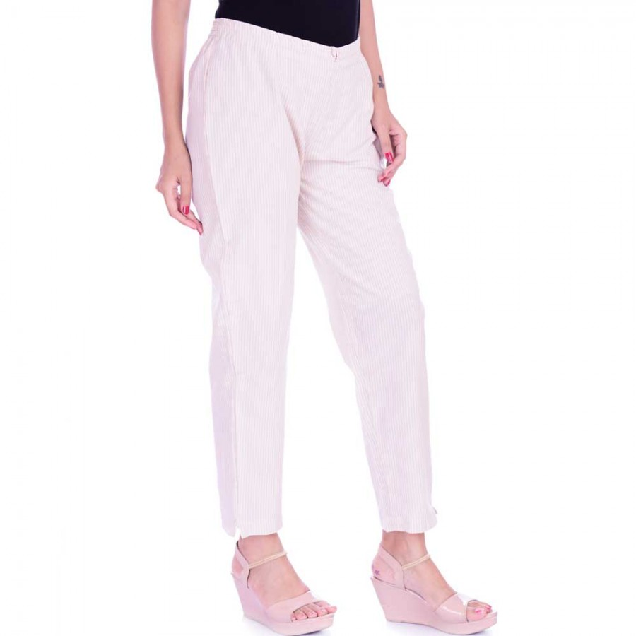 ASMANII LIGHT BROWN WHITE STRIPED PANT FOR WOMEN JAIPUR
