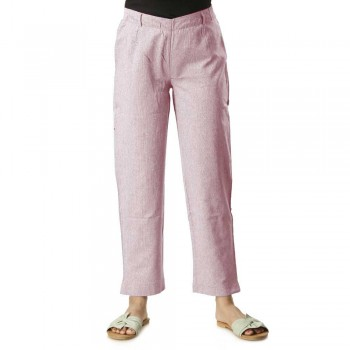 PURPLE COTTON STRAIGHT PANT