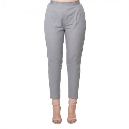 GREY COTTON FLEX PANTS FOR WOMEN JAIPUR