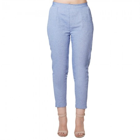 LIGHT BLUE COTTON SAMERY PANT FOR WOMEN JAIPUR
