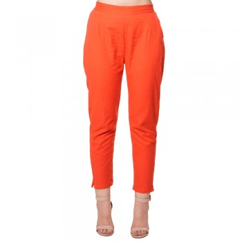 RED COTTON FLEX CASUAL PANT FOR WOMEN JAIPUR