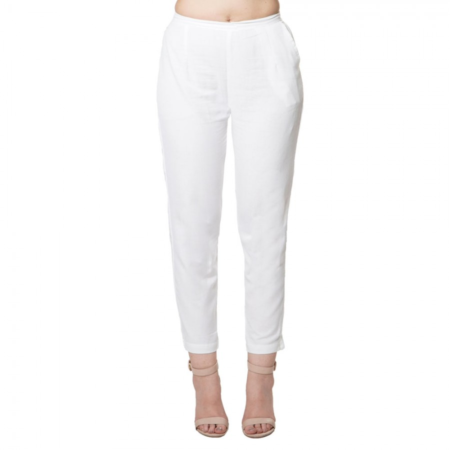 WHITE COTTON FLEX  PANT FOR WOMEN  JAIPUR