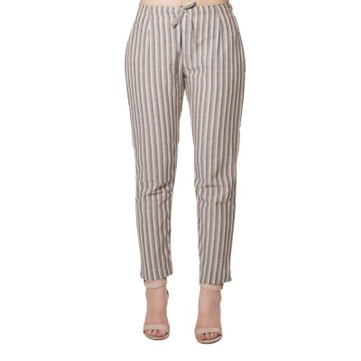BROWN BLACK STRIPED COTTON PANT FOR WOMEN JAIPUR