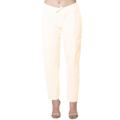 LIGHT BROWN WHITE STRIPED PANT FOR WOMEN JAIPUR