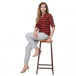 LIGHT GREY STRIPED COTTON PANT FOR WOMEN JAIPUR