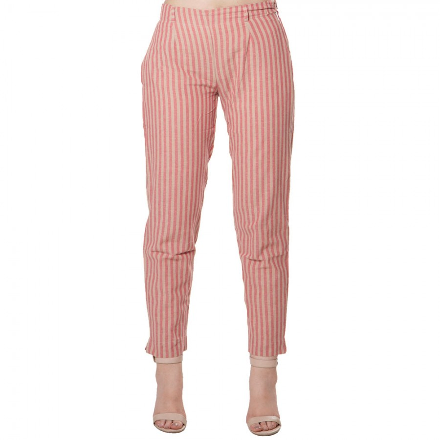 PINK BROWN STRIPED COTTON PANT FOR WOMEN JAIPUR