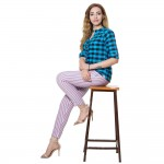 PINK PURPLE STRIPED COTTON PANT FOR WOMEN JAIPUR
