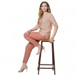 RED GREY STRIPED PANT FOR WOMEN JAIPUR