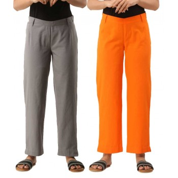 COMBO PACK OF 2 GREY & ORANGE COTTON CASUAL PANTS