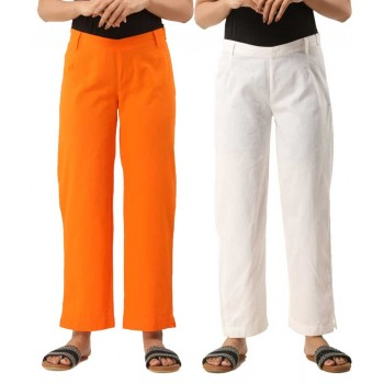COMBO PACK OF 2 ORANGE & WHITE COTTON CASUAL PANTS