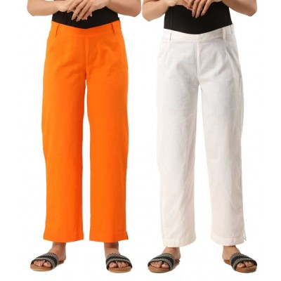 ASMANII COMBO PACK OF 2 ORANGE & WHITE COTTON CASUAL PANTS JAIPUR