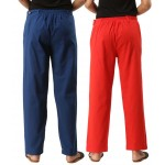 ASMANII COMBO PACK OF 2 BLUE & RED COTTON CASUAL PANTS JAIPUR