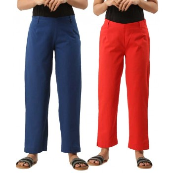 COMBO PACK OF 2 BLUE & RED COTTON CASUAL PANTS