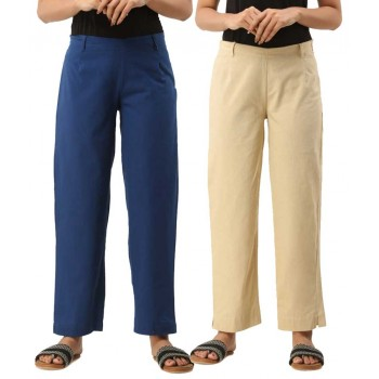 COMBO PACK OF 2 BLUE & OFFWHITE COTTON CASUAL PANTS