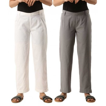 COMBO PACK OF 2 WHITE & GREY COTTON CASUAL PANTS