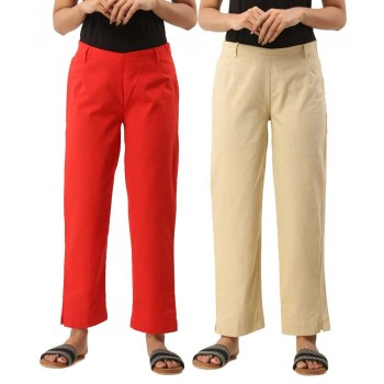 ASMANII COMBO PACK OF 2 RED & OFFWHITE COTTON CASUAL PANTS JAIPUR