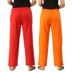 ASMANII COMBO PACK OF 2 RED & ORANGE COTTON CASUAL PANTS JAIPUR