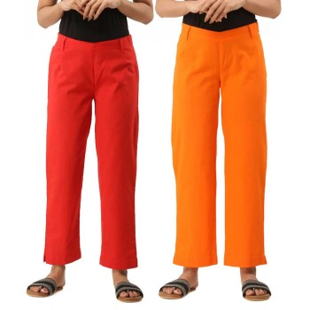 COMBO PACK OF 2 RED & ORANGE COTTON CASUAL PANTS