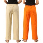 COMBO PACK OF 2 OFFWHITE & ORANGE COTTON CASUAL PANTS