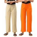 ASMANII COMBO PACK OF 2 OFFWHITE & ORANGE COTTON CASUAL PANTS JAIPUR