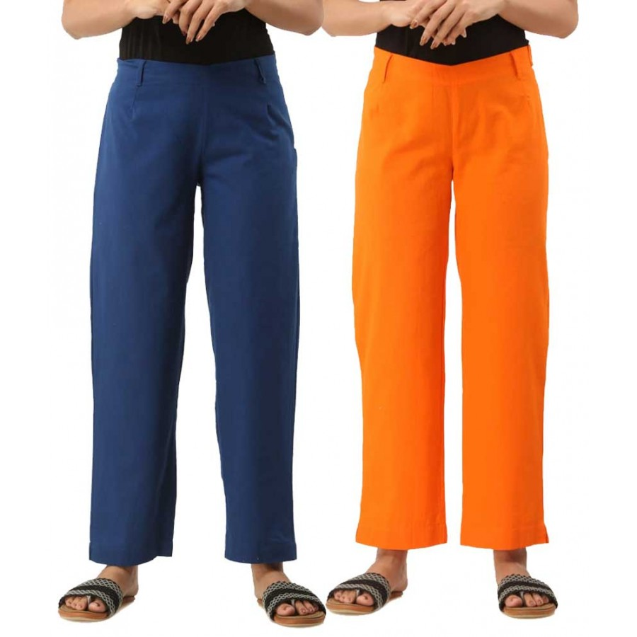 ASMANII COMBO PACK OF 2 BLUE & ORANGE COTTON CASUAL PANTS JAIPUR
