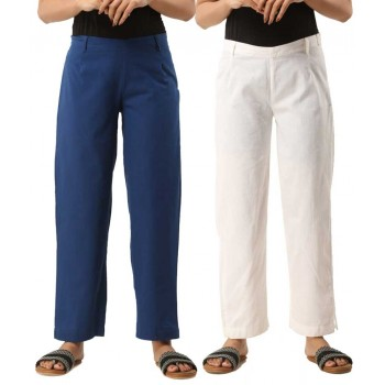 COMBO PACK OF 2 BLUE & WHITE COTTON CASUAL PANTS