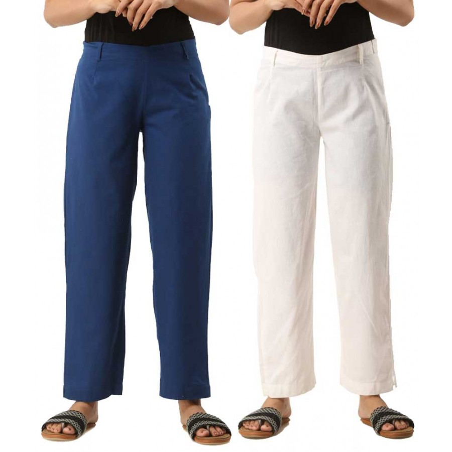 ASMANII COMBO PACK OF 2 BLUE & WHITE COTTON CASUAL PANTS JAIPUR