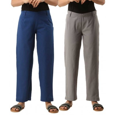 ASMANII COMBO PACK OF 2 BLUE & GREY COTTON CASUAL PANTS JAIPUR