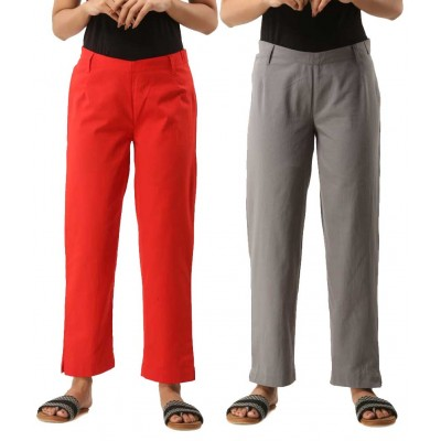 ASMANII COMBO PACK OF 2 RED & GREY COTTON CASUAL PANTS JAIPUR