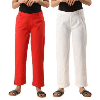 COMBO PACK OF 2 RED & WHITE COTTON CASUAL PANTS