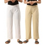 ASMANII COMBO PACK OF 2 GREY & OFFWHITE COTTON CASUAL PANTS JAIPUR