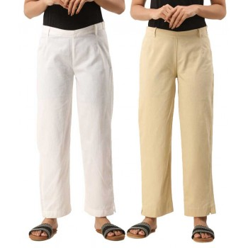 ASMANII COMBO PACK OF 2 WHITE & OFF WHITE COTTON CASUAL PANTS JAIPUR