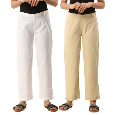 COMBO PACK OF 2 WHITE & OFFWHITE COTTON CASUAL PANTS