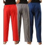 ASMANII COMBO PACK OF 3 RED GREY & BLUE COTTON CASUAL PANTS JAIPUR