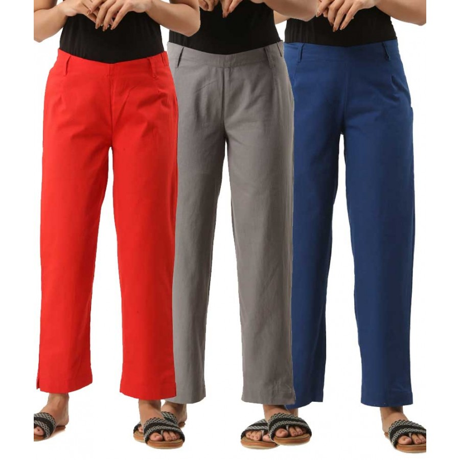 COMBO PACK OF 3 RED GREY & BLUE COTTON CASUAL PANTS