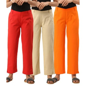 ASMANII COMBO PACK OF 3 RED OFF WHITE & ORANGE COTTON CASUAL PANTS JAIPUR