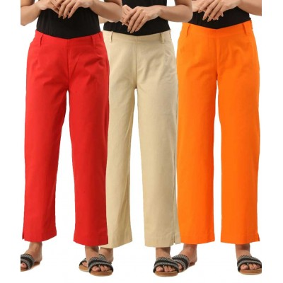 ASMANII COMBO PACK OF 3 RED OFFWHITE & ORANGE COTTON CASUAL PANTS JAIPUR