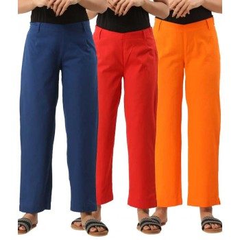 ASMANII COMBO PACK OF 3 BLUE RED & ORANGE COTTON CASUAL PANTS JAIPUR