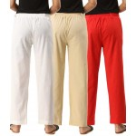 ASMANII COMBO PACK OF 3 WHITE OFFWHITE & RED COTTON CASUAL PANTS JAIPUR