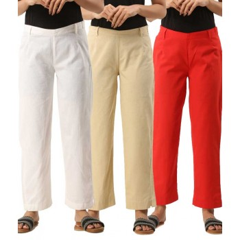 COMBO PACK OF 3 WHITE OFFWHITE & RED COTTON CASUAL PANTS