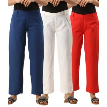 COMBO PACK OF 3 BLUE WHITE & ORANGE COTTON CASUAL PANTS