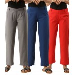 ASMANII COMBO PACK OF 3 GREY BLUE & RED COTTON CASUAL PANTS JAIPUR