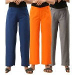ASMANII COMBO PACK OF 3 BLUE ORANGE & GREY COTTON CASUAL PANTS JAIPUR