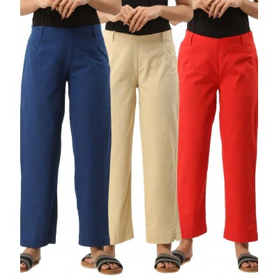 ASMANII COMBO PACK OF 3 BLUE OFFWHITE & RED COTTON CASUAL PANTS JAIPUR